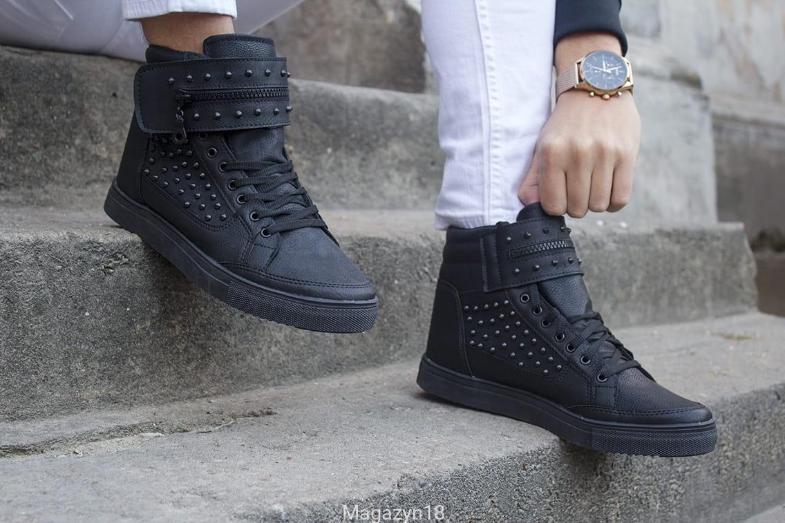 Sneakers czarne S2 , wysokie buty