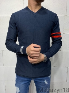 Sweter 7011g V-neck dark blue