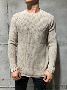 Gruby sweter 7019b beżowy