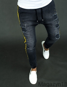 Joggery 1402c Baggy jeansowe black&yellow
