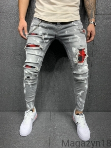 New jeans 5558 grey-red premium